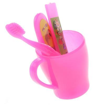 4pcs Mini Toothbrush Cup Set Dolls Toothbrush for Barbie Dolls Pink