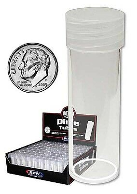(10) Bcw Dime Size Round Clear Plastic Coin Tube Storage Holders