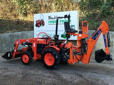 Kubota B7000 4Wd Compact Tractor, Front Loader, Bucket & New Mini Digger Backhoe