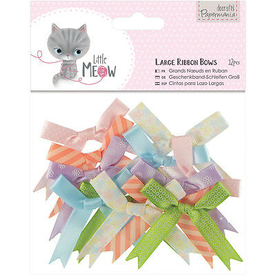 Papermania Little Meow Large Ribbon Bows 12/Pkg  PM354809