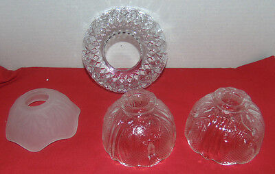 Vintage 4 Crystal Small & Large Light/Candle Globes With Openings-Cut Crystal