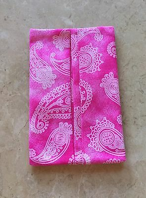 Pink Paisley Fabric Tissue Holder for Purse, Pocket, or Travel, Handmade
