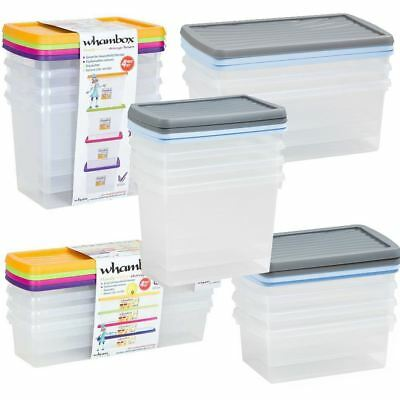 Wham Storage Box & Clip Lid Set Clear Container Assorted Colour Nest Space Save