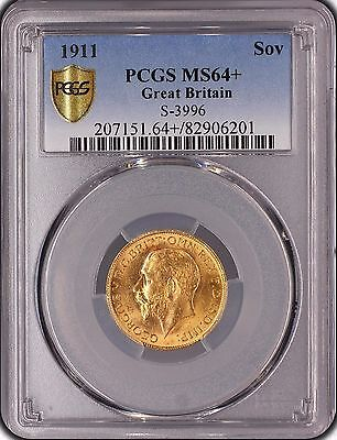 1911 George V Gold Sovereign Pcgs Ms64+