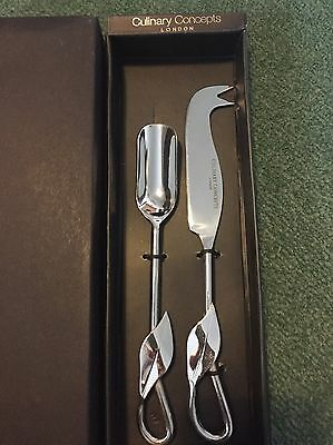 """culinary concepts """"willow Leaf"""" Cheese Knife And Scoop Serving Set London"""