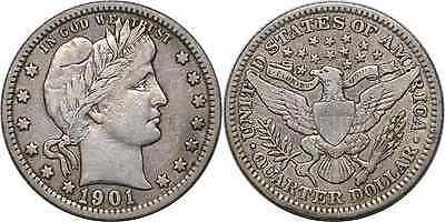 1901 25C Barber Quarter Very Fine
