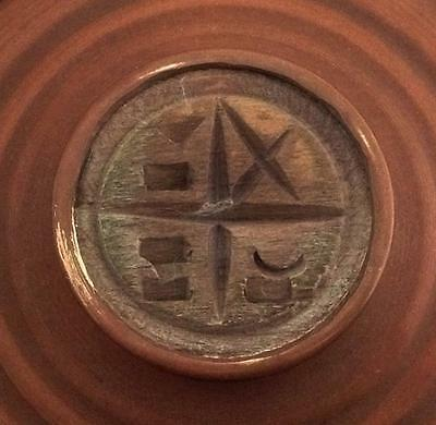 Greek Orthodox Holy Prosphora Old Bread Wooden  Handcrafted Seal In Bronze Case