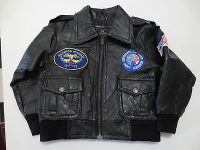Boy's Brown M Collection Genuine Leather Military Flight Jacket Patches sz. 4-5