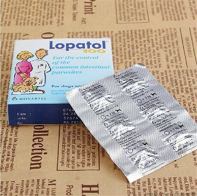 Swiss NOVARTIS LOPATOL 100 Oral Wormer Tablet Roundworm Tapeworm Worms for Dogs