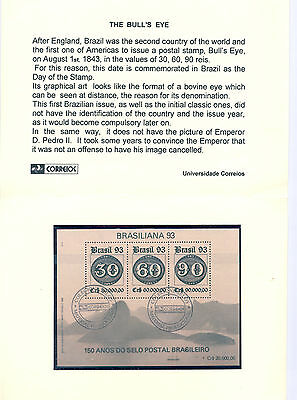 Brazil - Souvenir Sheet of canceled Stamps 1993