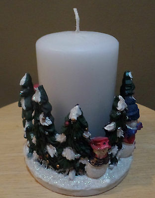 Vintage Circle of CHRISTMAS Trees HOLDER with CANDLE ~ Never LIT