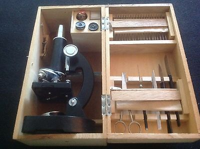 VINTAGE Child's Microscope w/Tools & Slides in Original Wooden Box from Japan