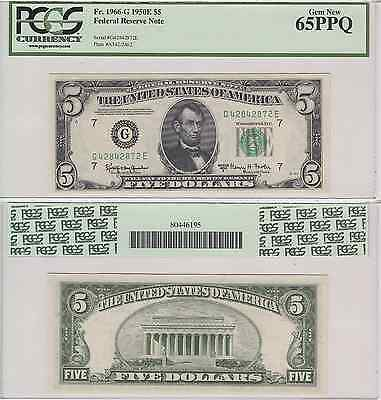 1950E $5 Federal Reserve Note Chicago District FR 1966-G PCGS Gem New 65PPQ