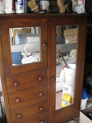 vintage wood armoire-- wardrobe-- chest of drawers--mirror