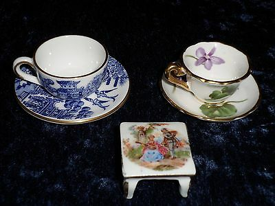 MINIATURE BONE CHINA CUP AND SAUCER,  Coalport Willow ,  Limoges , Hammersley