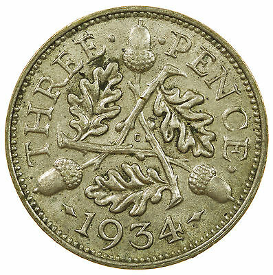 Great Britain, George V Threepence, Silver, High Grade, 1934