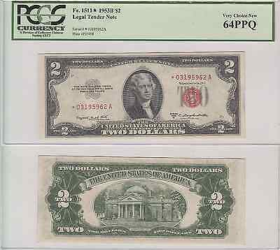 1953B $2 Legal Tender Star Note FR 1511* PCGS Very Choice New 64PPQ