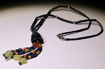 Ancient Carved Lapis Bead Necklace - No Reserve!!