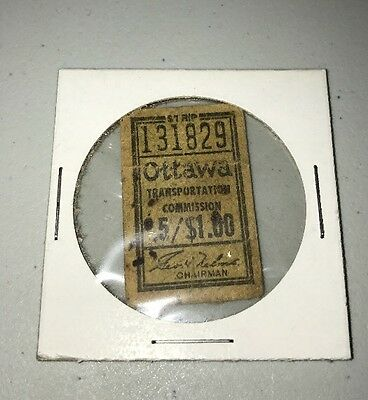 1971 Ottawa Transportation Commission Ticket - Original