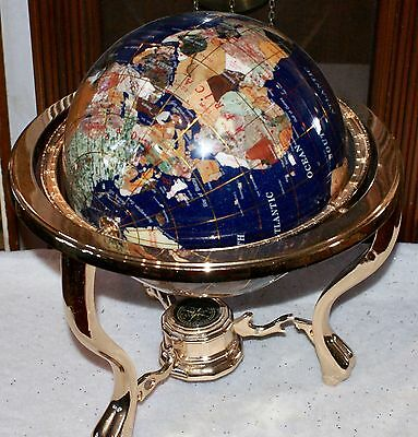 Blue World Globe,Inlaid Stones & Gold Colored Metal Tripod Stand  Needs Repair