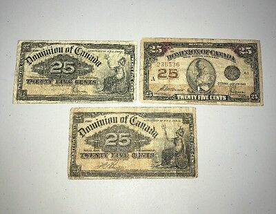 Lot Of (3) 1900 And 1923 Dominion Of Canada 25 Twenty Five Cents Notes