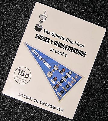 1973 - Sussex v Gloucestershire, Gillette Cup Final Match Programme.