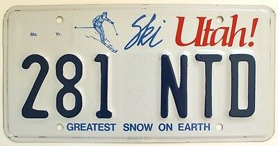 """Utah 2005 """"Greatest Snow on Earth License Plate, Skier, Skiing Vacation 281 NTB"""