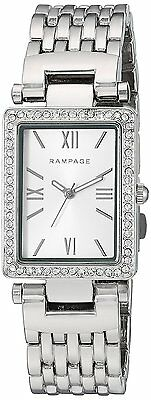 Rampage Watch Rectangular Silver Dial Silver-Tone Bracelet Quartz Women's Watch