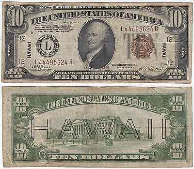 1934 A $10 Hawaii Federal Reserve Note Fine FR 2303
