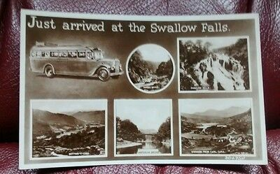 Swallow Falls Real Photo Bettws-Y-Coed Valentines Old Postcard