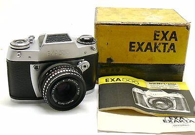 Exa 500 camera with 50mm f/2.8 Domiplan lens boxed