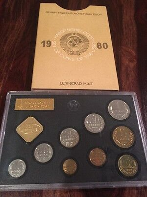 1980 Russian Coin Proof Set 9 Coins Rare