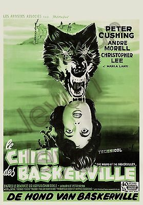 """The hound of the Baskervilles 1959  poster repro16""""x23"""" Peter Cushing -A. Morell"""