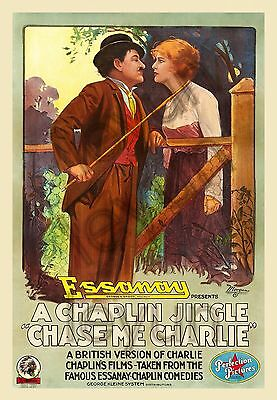 """Chase me Charlie 1918  poster repro 16""""x23"""" Charles Chaplin - Edna Purviance"""
