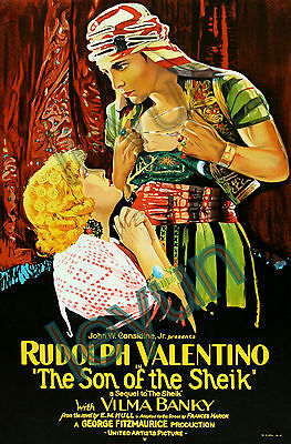 """The son of the sheik 1926  poster repro 16""""x24"""" Rudolph Valentino - Vilma Banky"""