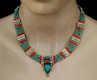 Sterling Silver Necklace Handmade Ethnic Asian Wedding jewelry Turquoise CM25