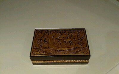 vintage black lacquered trinket box with gold ship detail
