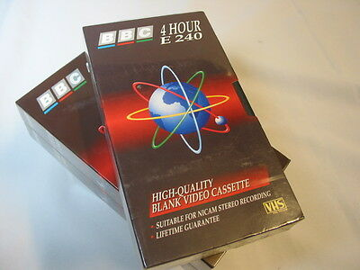 3 of BBC 4 Hour E240 Blank VHS Video Cassette Tapes New Unused  & sealed.