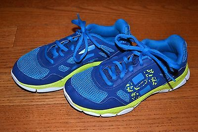 Vguc! Under Armour Girls Running Shoes Blue Turquoise Yellow Sz 3 Youth