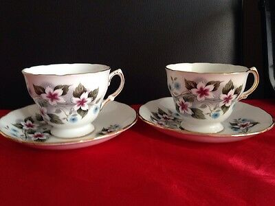 Vintage Royal Vale Set Of 2 Tea Cups And Saucers