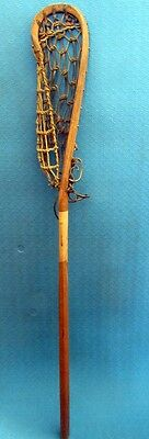 Old Indian Mohawk Lacrosse Stick Wood frame Decor Leather Rawhide Webbing 42""
