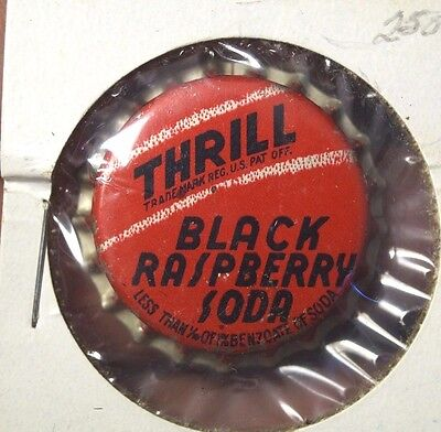 1940s Uncrimped Thrill Black Raspberry Soda Cola Cork Bottle Cap