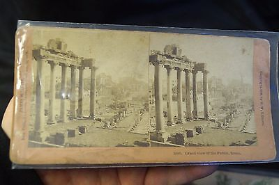 Antique 1896 Stereoscope Card View of The Forum Rome Italy B W Kilburn Company