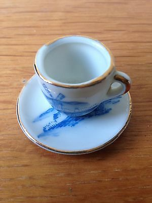Cup Saucer Miniature Blue White Delft Style