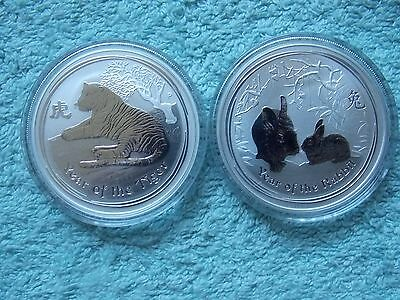 2010 & 2011 Australian Silver Lunar Tiger & Rabbit 1 OZ (Set of 2 coins)