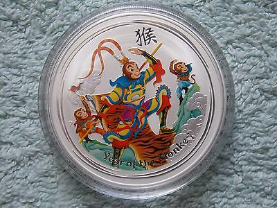 2016 Australian Silver Lunar Series II Colorized the Monkey King 1 oz