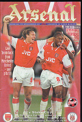 1996/97 ARSENAL V STOKE CITY 13-11-1996 League Cup 3rd Round Replay Coca-Cola