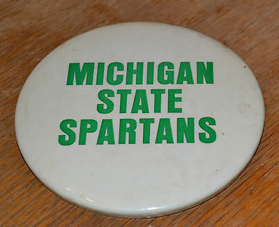 "VTG Large 4"" Michigan State Spartans Pin Back Button Next Football Champions N"