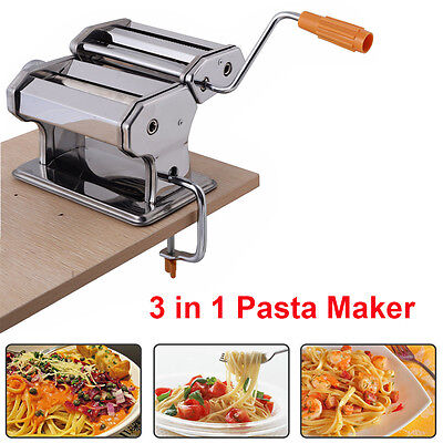 3 in 1 Pasta Maker Machine Lasagne Spaghetti Cutter Tagliatelle Ravioli Tool UK
