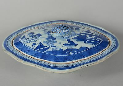 18/19C Antique Chinese Export Canton Blue White Porcelain Lidded Serving Dish